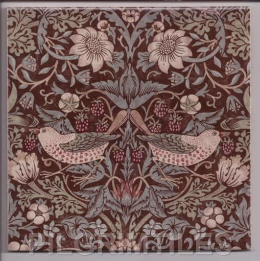 Arts crafts william morris strawberry thief tiles for Arts and crafts floor tile