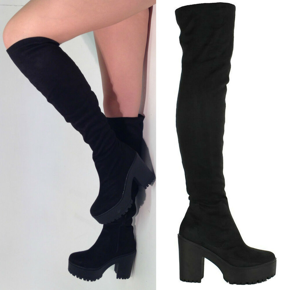 Over the Knee Chunky Heel Thigh High Boots