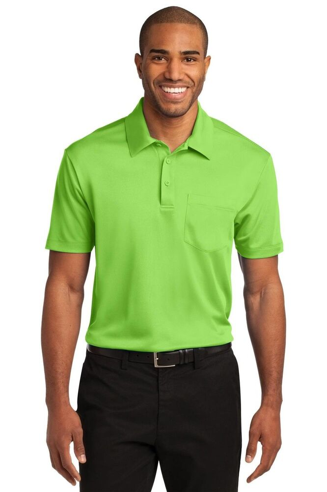 Port authority mens silk touch dri fit pocket polo shirt for Mens xs golf shirts