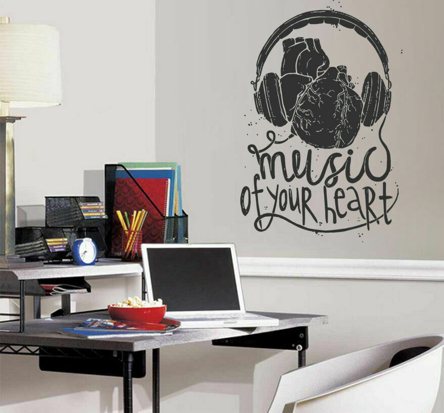 Ik1313 wall decal sticker music headphones heart bedroom for Bedroom recording studio