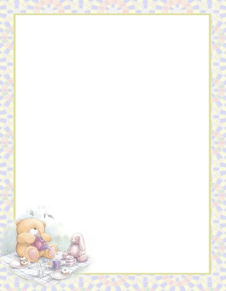 new teddy bear tea party letterhead printable stationery paper 26 sheets