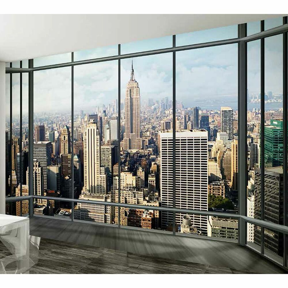 315x232cm giant wall mural photo wallpaper new york city penthouse. Black Bedroom Furniture Sets. Home Design Ideas