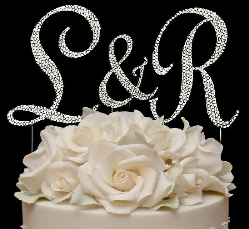 3 Full Swarovski Crystal Covered Wedding Monogram Cake Topper Top Letters