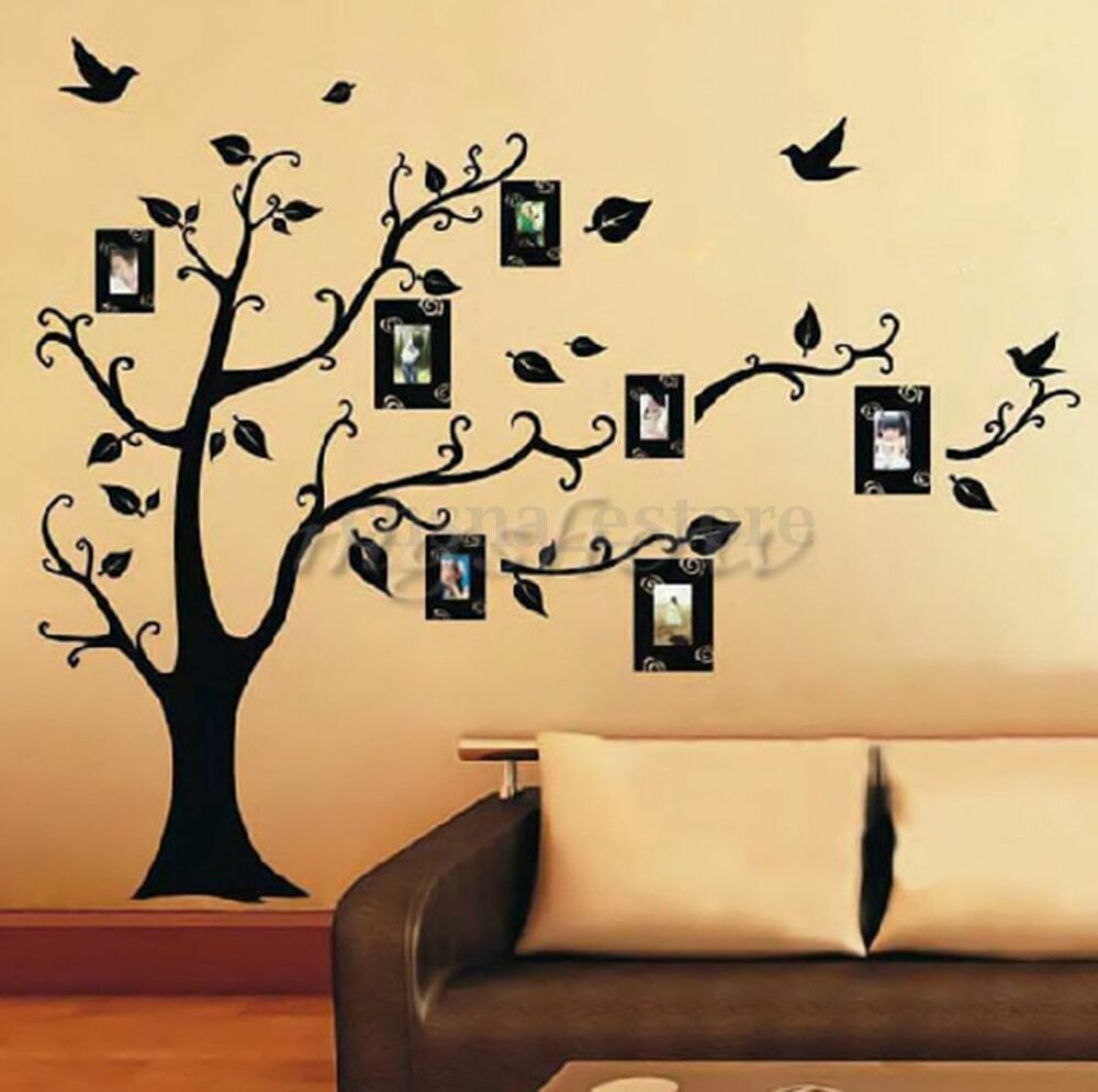 diy home family decor photo black tree removable decal. Black Bedroom Furniture Sets. Home Design Ideas
