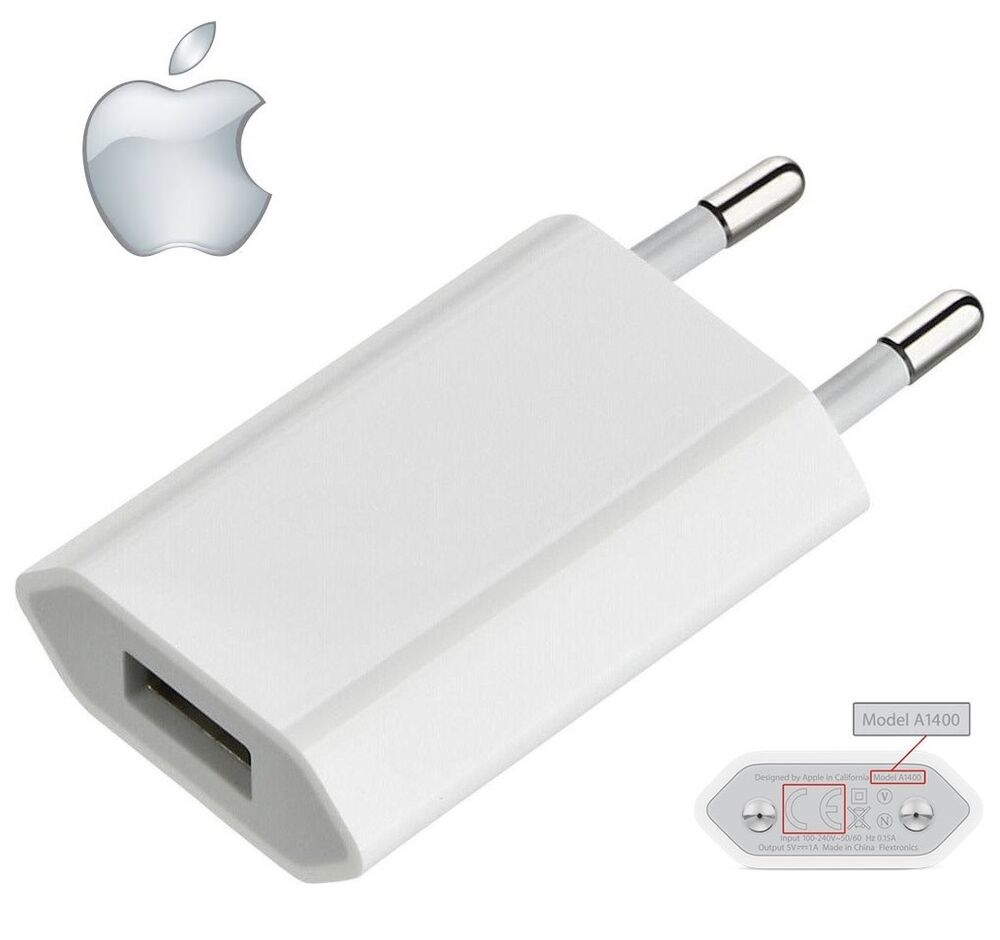 Genuine Apple A1400 EU 2 Pin Wall Charger USB Adapter For