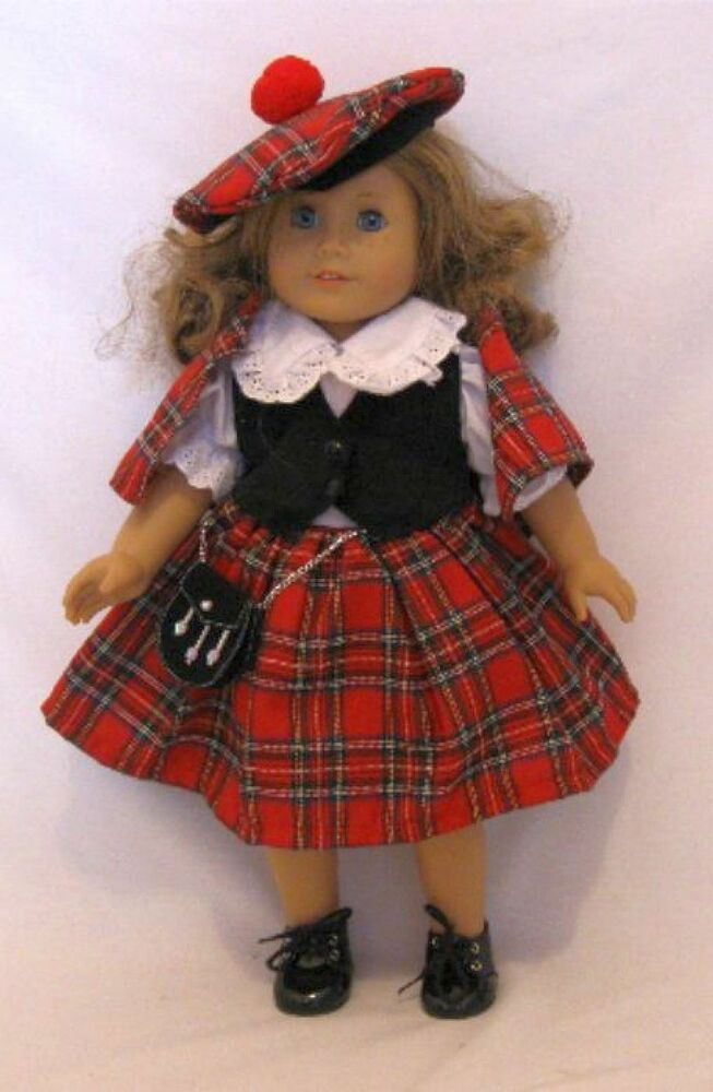 Doll clothes ag 18 quot scottish dress made to fit 18 inch american girl
