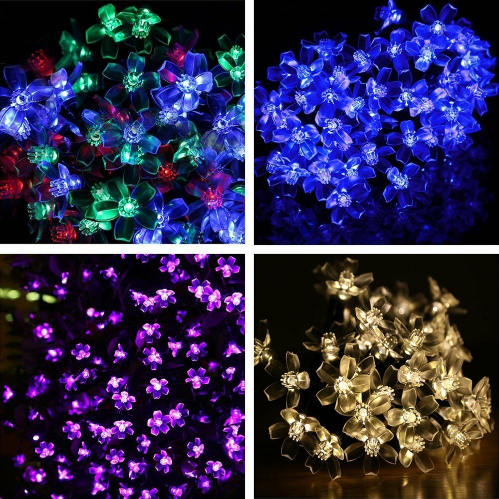 Solar Power 5M 50 LED Flower String Fairy Light Outdoor For Garden Xmas Party eBay