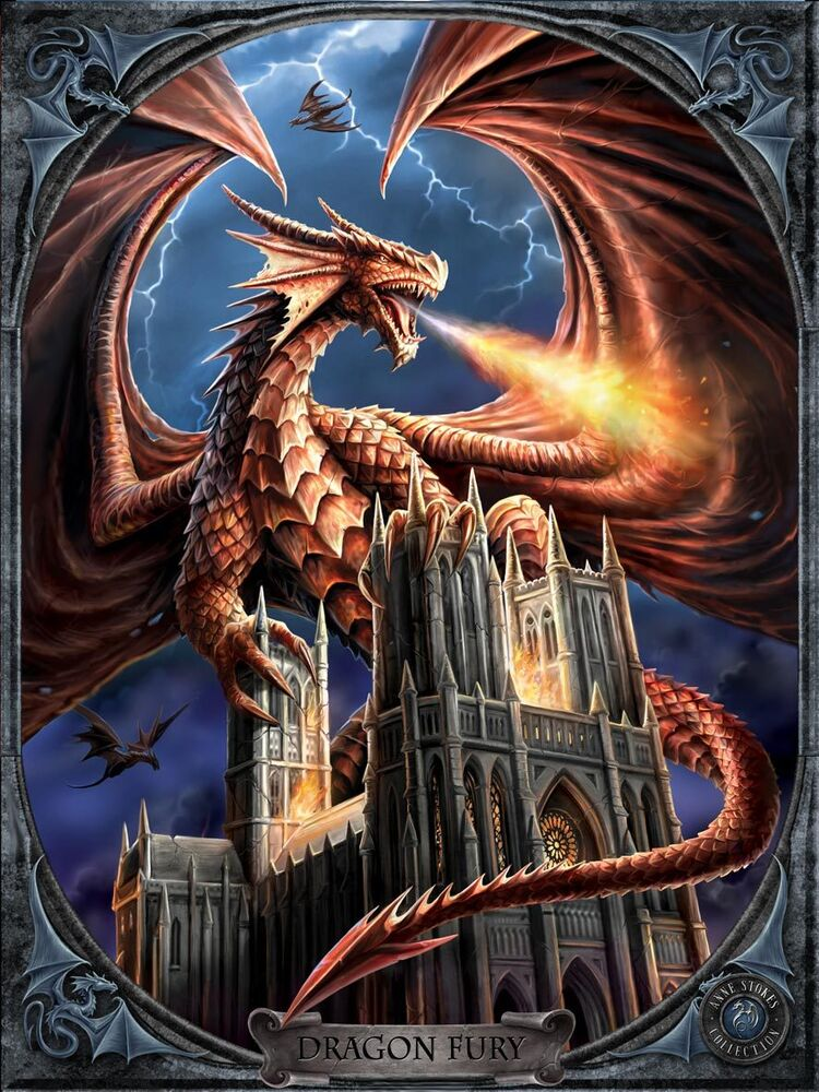 anne stokes dragon fury 3d cult moving picture 300mm x 400mm ebay. Black Bedroom Furniture Sets. Home Design Ideas