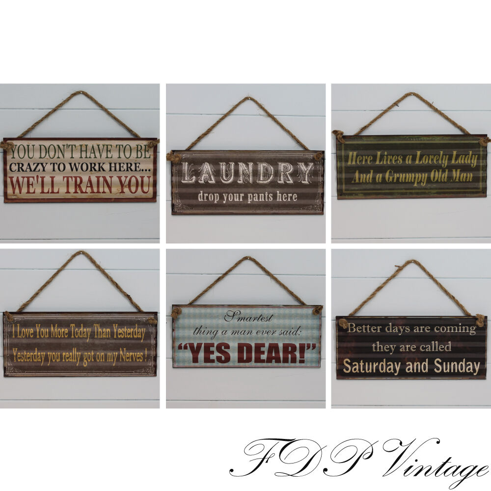 vintage funny sign rustic metal plaque humorous sayings for the home office ebay. Black Bedroom Furniture Sets. Home Design Ideas