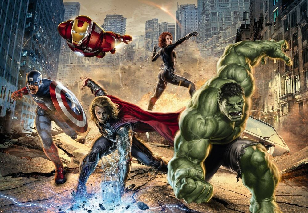 Avengers street rage photo wallpaper wall mural marvel for Avengers wallpaper mural