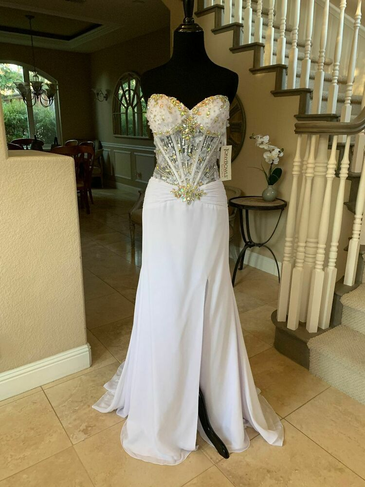 458 Nwt White Tony Bowls Le Gala Prom Pageant Wedding
