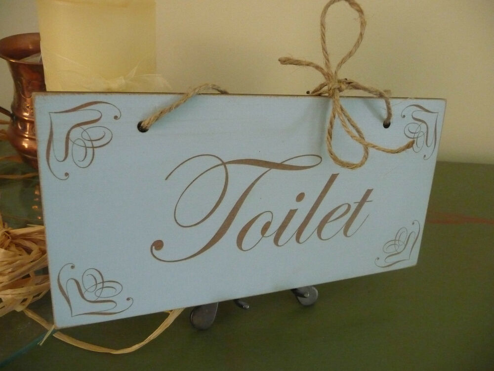 shabby chic toilet wooden bathroom door home sign wc plaque distressed vintage ebay. Black Bedroom Furniture Sets. Home Design Ideas