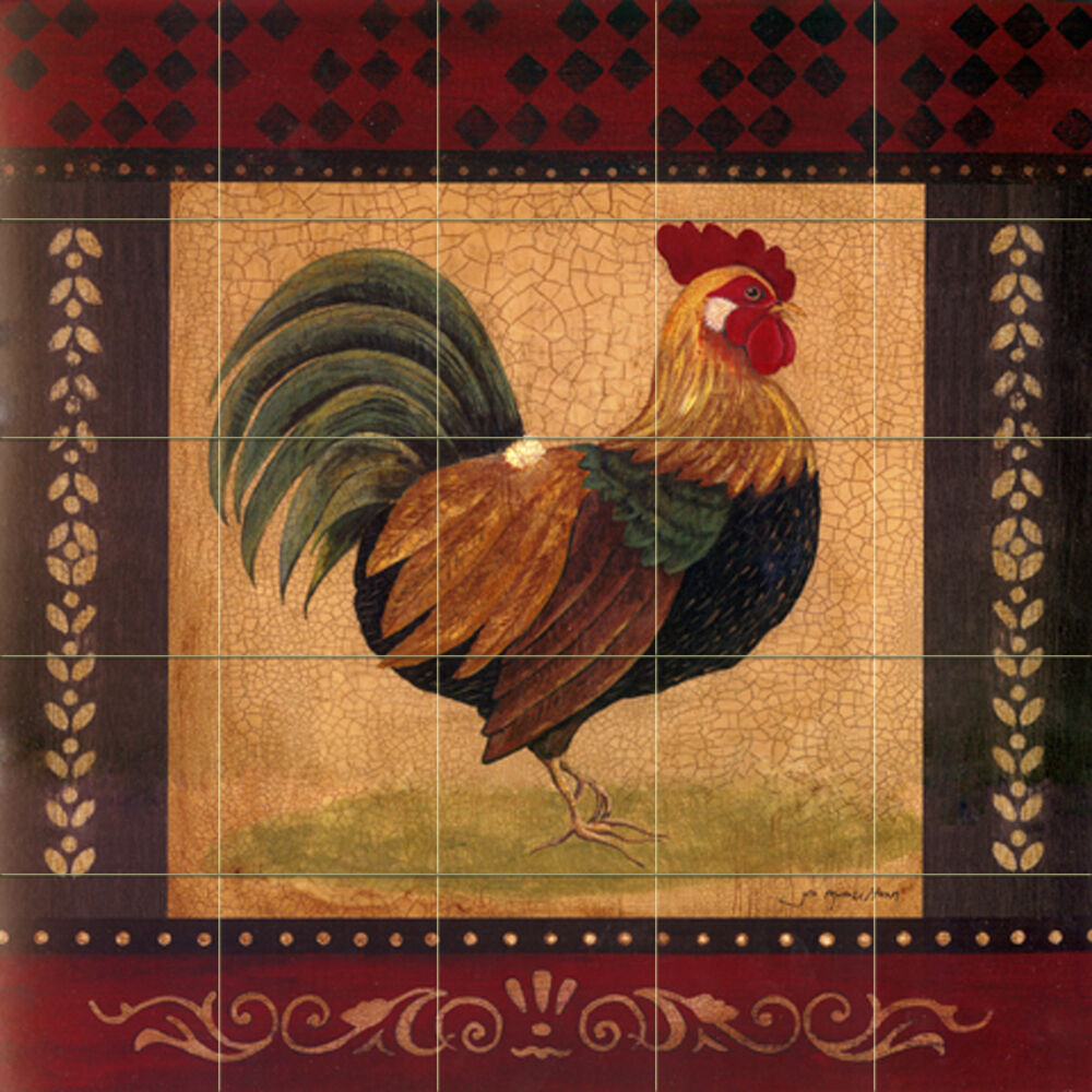 Art mural ceramic rooster border backsplash bath tile 142 for Artwork on tile ceramic mural