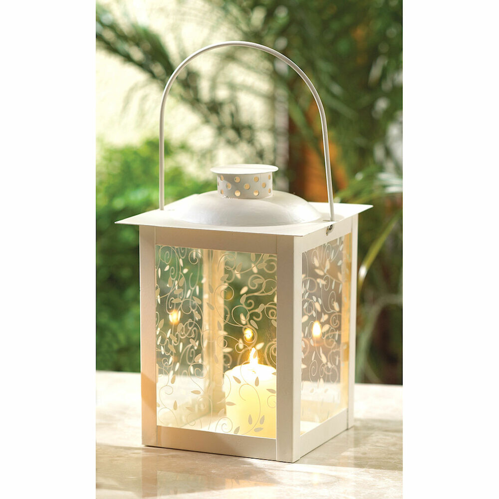 White Centerpiece Lanterns : Large white candle lantern candleholder vine glass panes