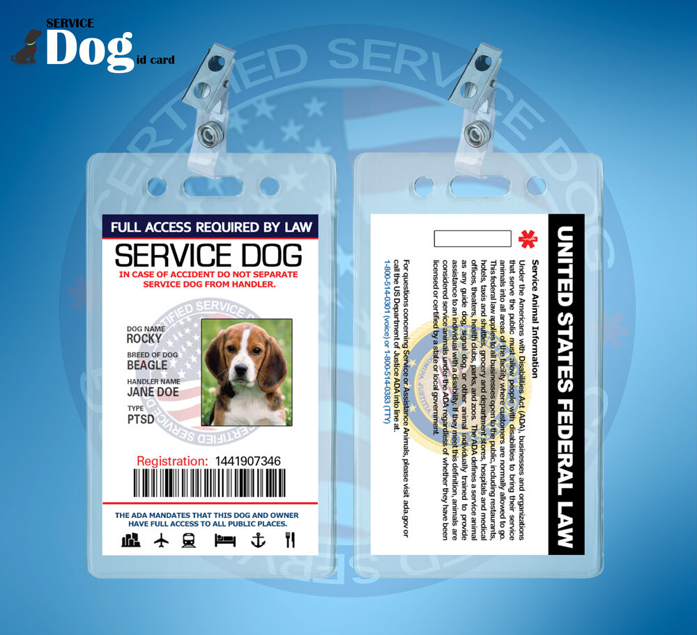 CUSTOMIZE EMOTIONAL SUPPORT THERAPY SERVICE DOG ID CARD ESA ADA ...