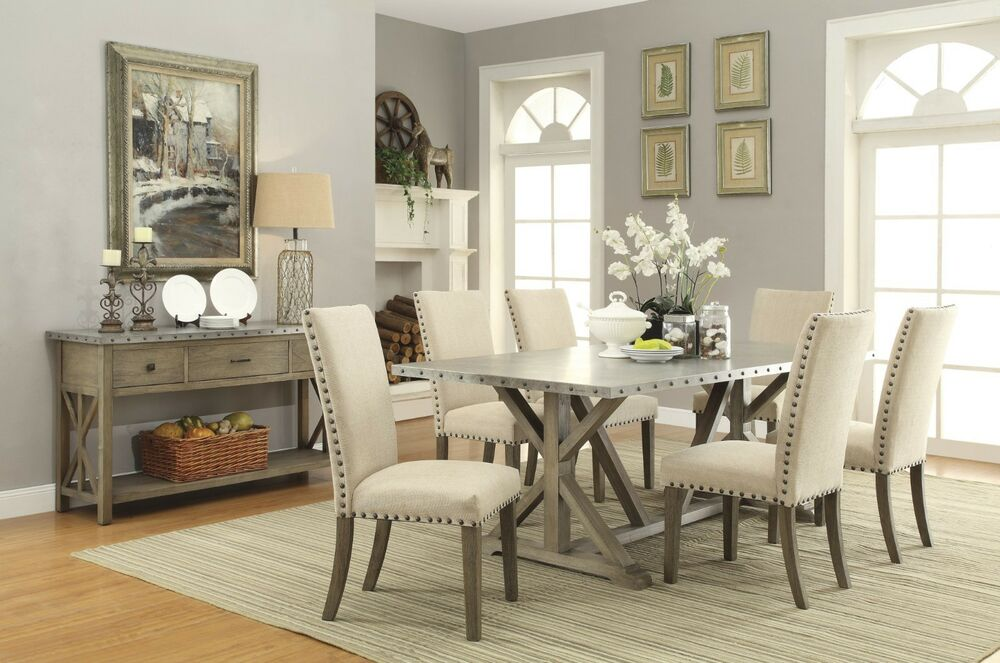 DRIFTWOOD FINISH DINING ROOM TABLE 6 PARSONS CHAIRS DINING ROOM