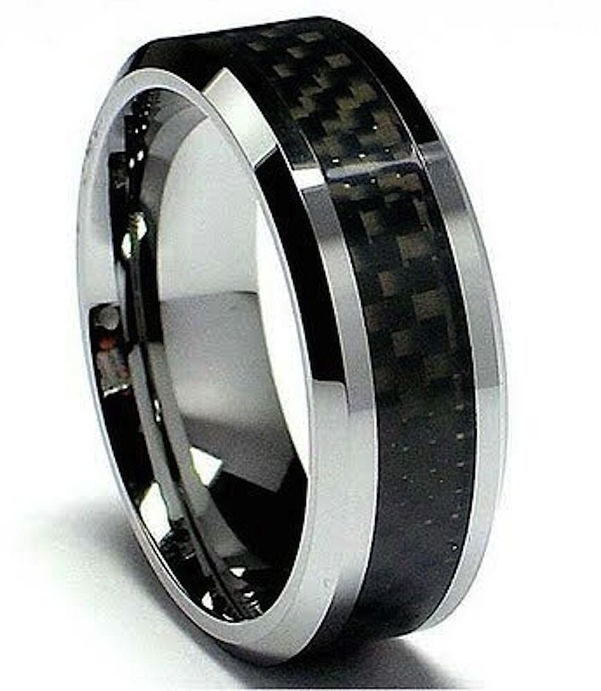 mens tungsten carbide with carbon fibre inlay wedding engagement eternity ring ebay. Black Bedroom Furniture Sets. Home Design Ideas