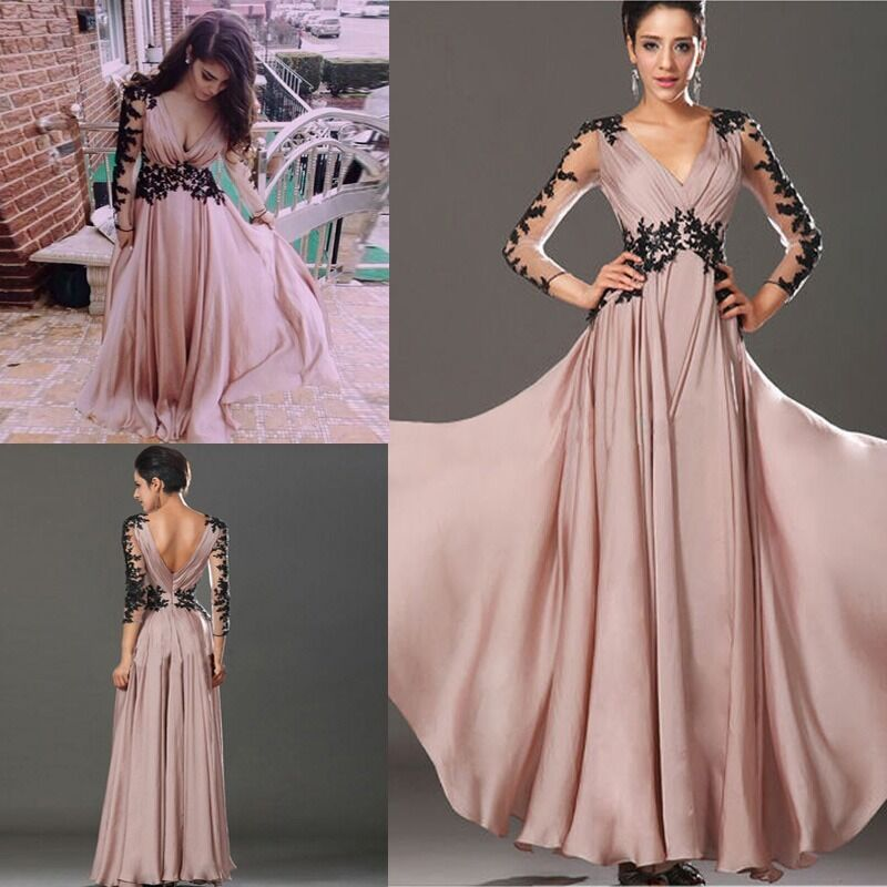 Chiffon Dressing Gown: Hot Long Sleeve Lace Chiffon Bridesmaid Formal Gown Party