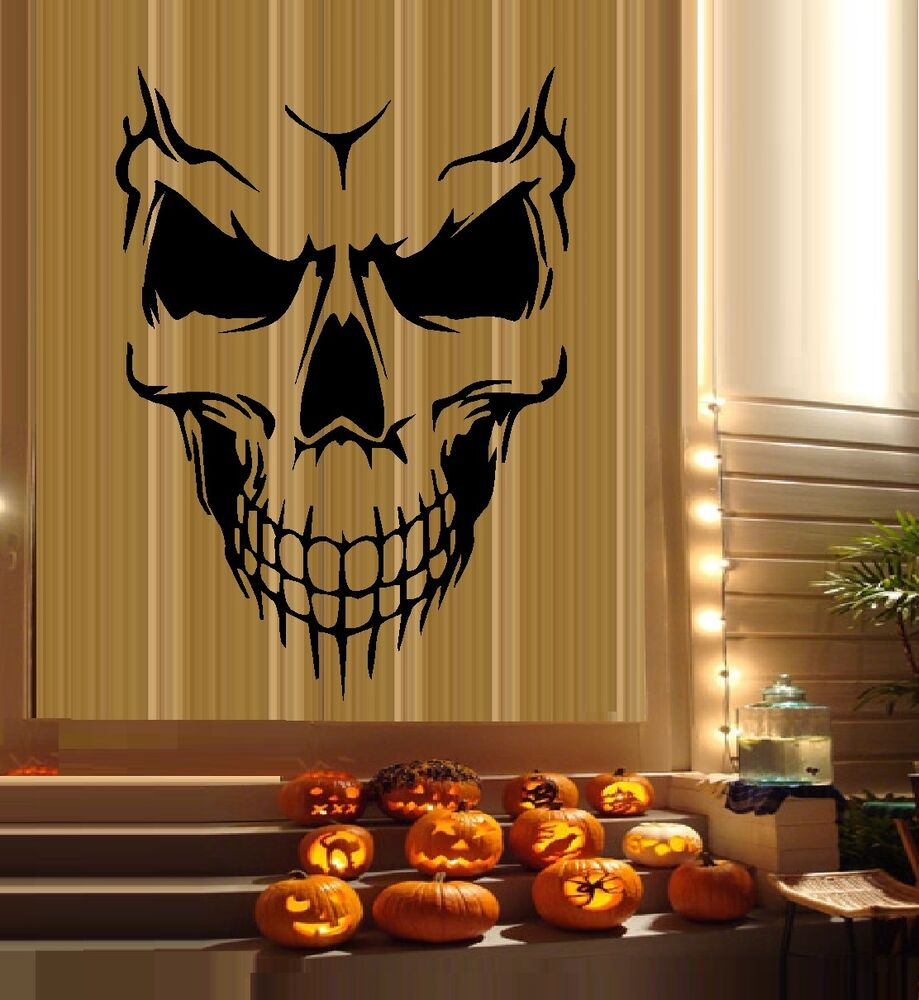 Scary Skeleton Face 6 Halloween Wall Or Window Decals
