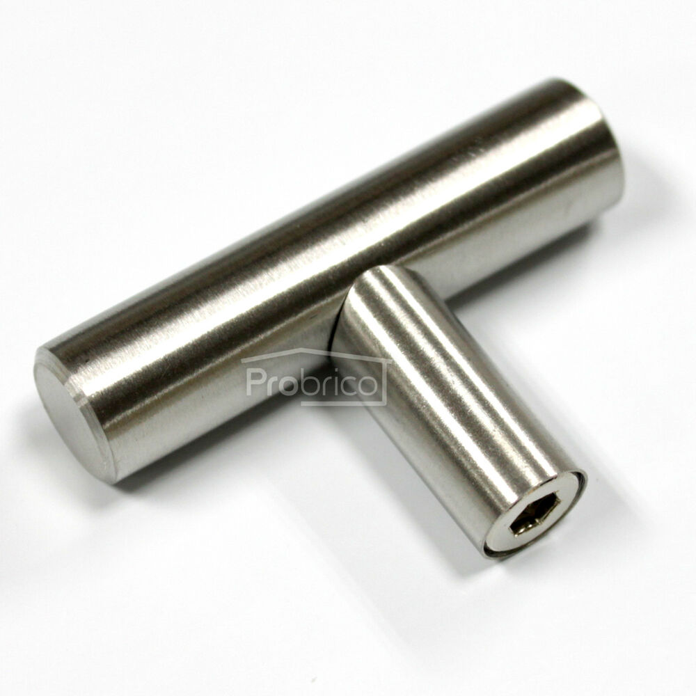 1 2 stainless steel t bar kitchen cabinet drawer pulls for Small door knobs and handles