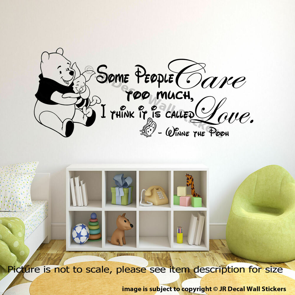 Winnie the pooh wall art quote sticker nursery piglet pooh for Disney wall mural stickers