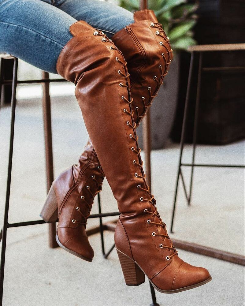 new lace up combat boots almond toe knee thigh high