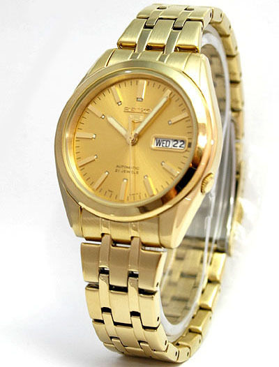 Seiko 5 Automatic 21 Jewels Gold Tone Men's Watch SNKH02K1 ...