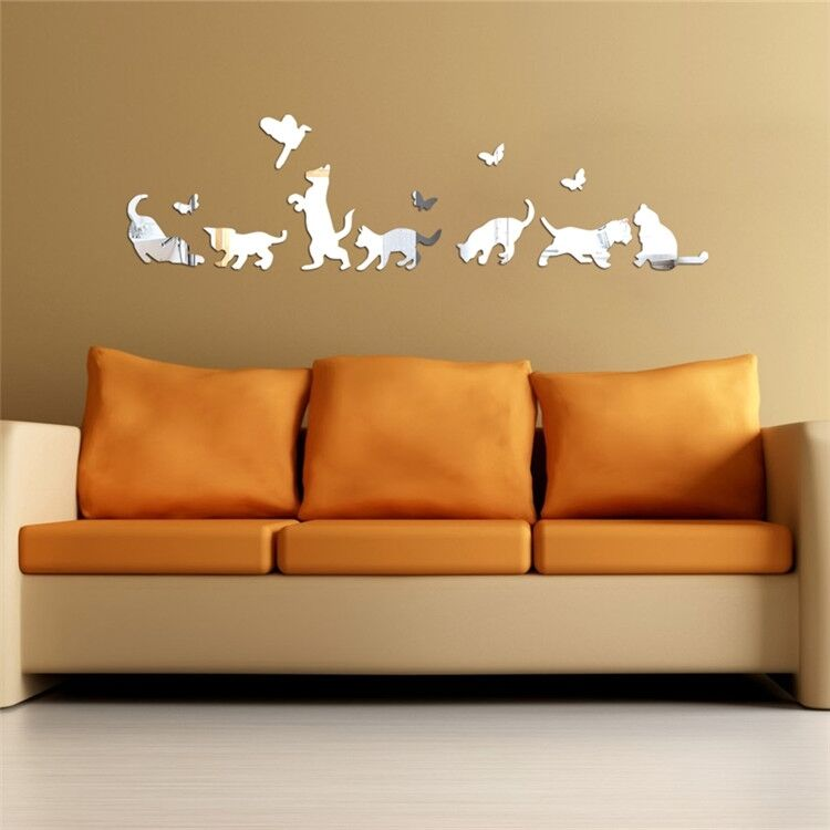 Modern Plastic Wall Decor : Cats dogs modern acrylic plastic mirror wall room decal