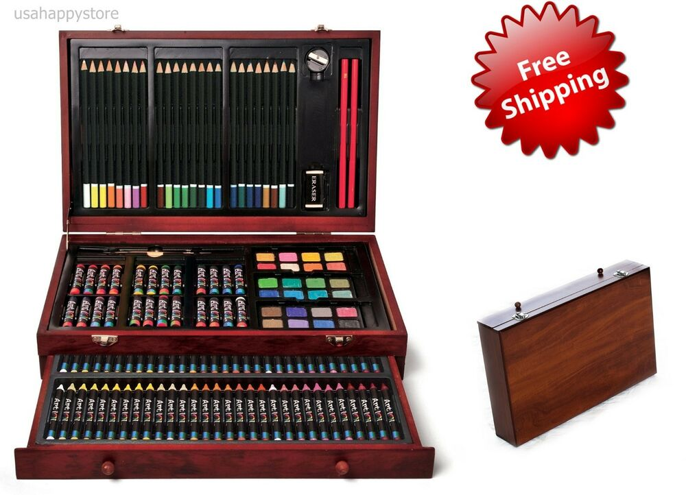 Deluxe art set drawing painting supplies wooden box case 142 piece drawer artist 46959094578 ebay for Deluxe interior design studio kit