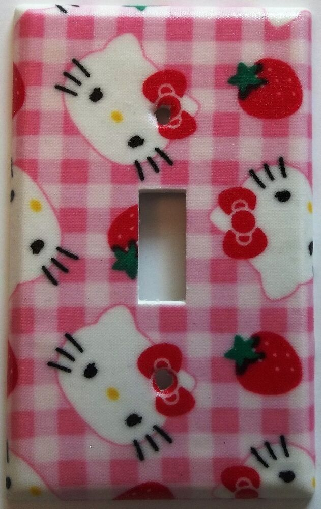 Hello kitty light switch plate cover outlet girls kids bedroom wall