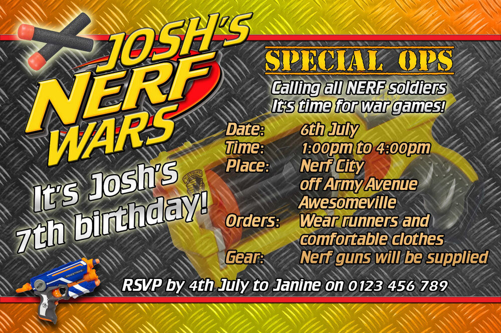 Nerf War Party Invitations are Inspiring Sample To Make Inspiring Invitations Template