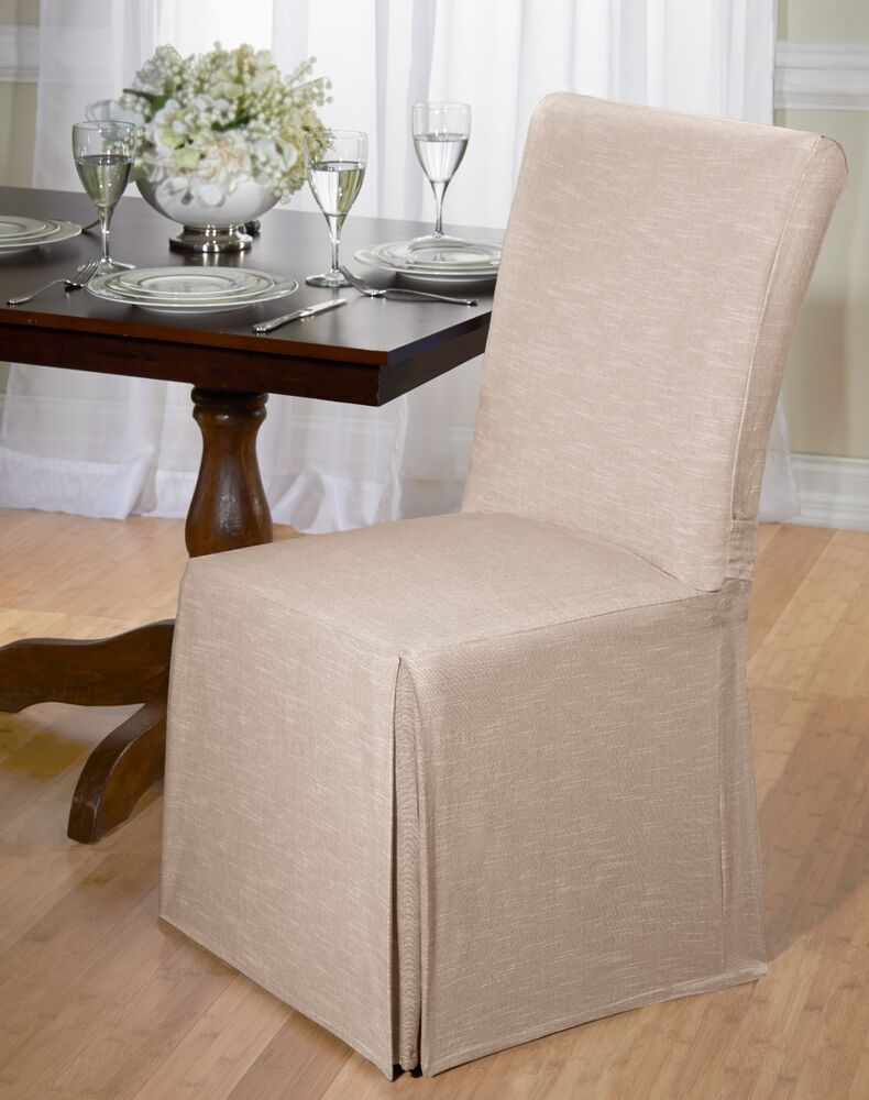 Luxurious cotton dining chair cover chambray back tie for 6 dining room chair covers