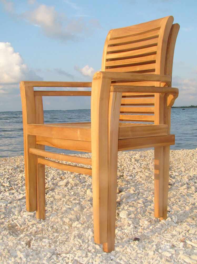 Qty 2 sam a grade teak wood dining stacking arm chair for Outdoor wood dining chairs