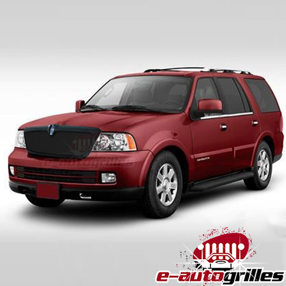 black stainless steel wire mesh grille with shell for 03 06 lincoln navigator ebay. Black Bedroom Furniture Sets. Home Design Ideas