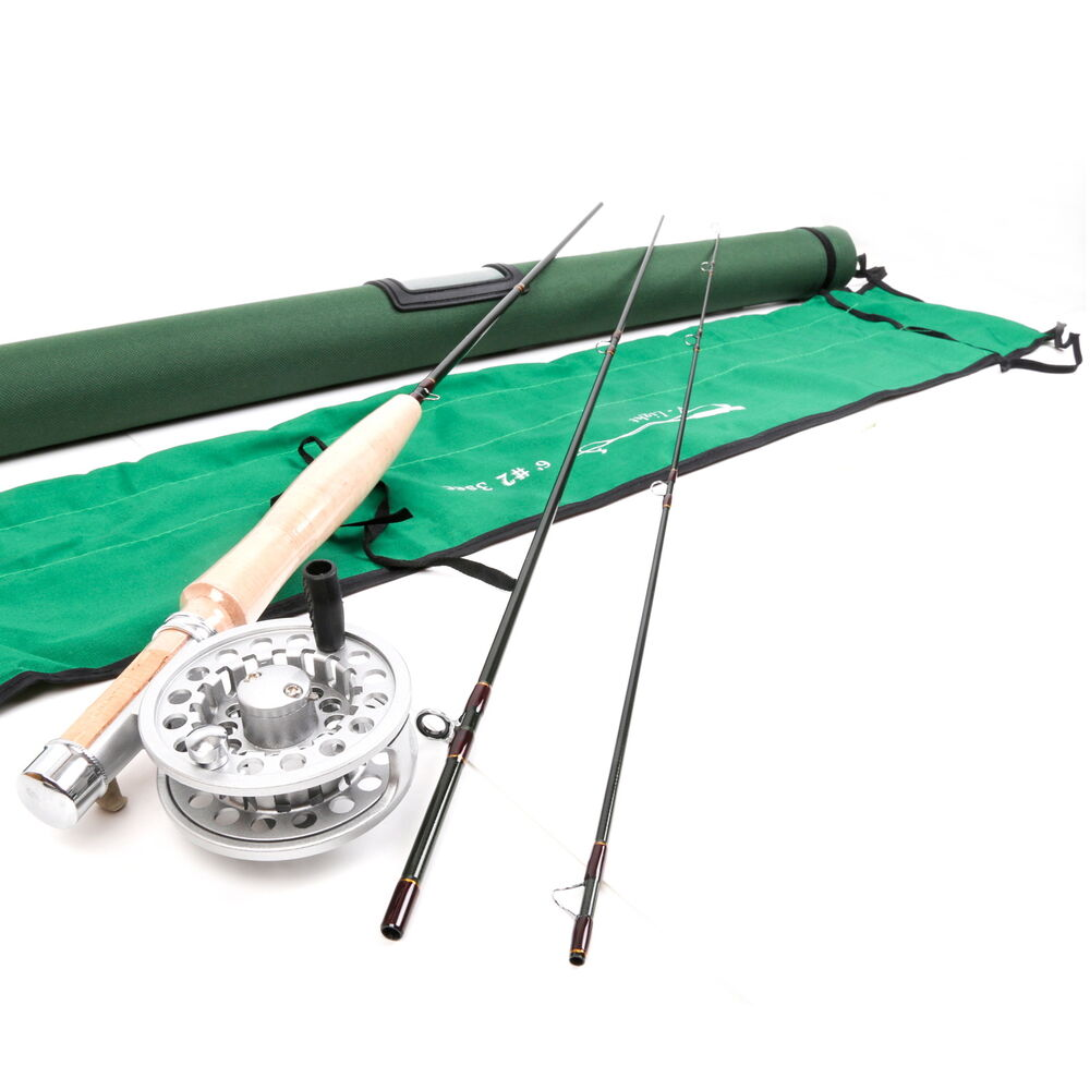 2wt fly rod and reel combo 6ft 3section medium fast fly for Trout fishing rod and reel