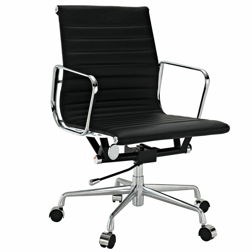 EMod Eames Aluminum Group Office Chair Reproduction Ribbed Back Black Leather