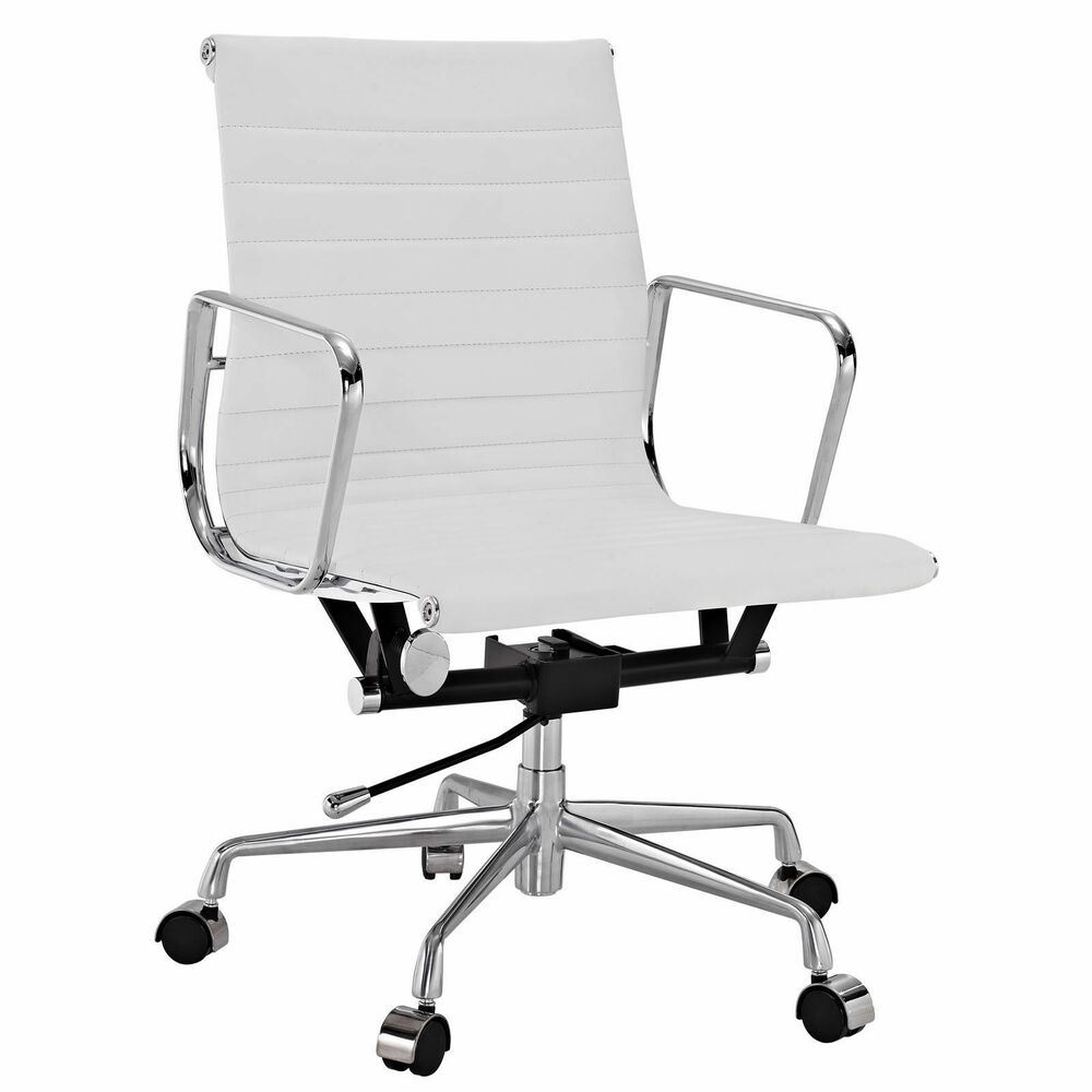emod eames office chair aluminum group style reproduction ribbed white