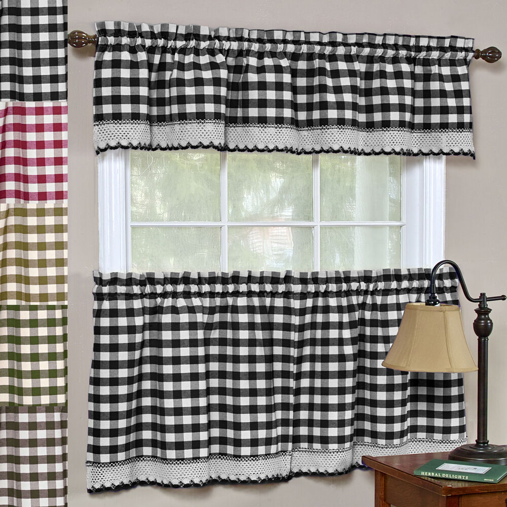 "24"" Or 36"" Set - Buffalo Check Gingham Kitchen Window Curtain - 5 Color Choices"