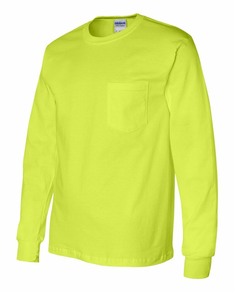 10 blank gildan safety green long sleeve t shirt with
