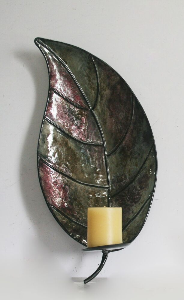 Metal Leaf Wall Mounted Candle Holder Sconce For Modern