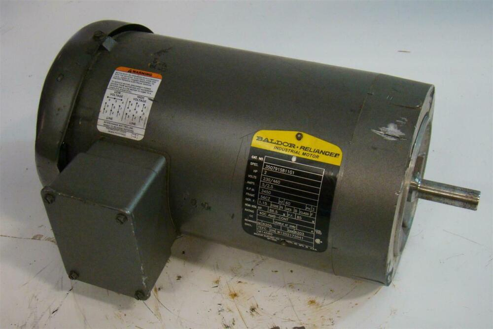 Baldor reliancer electric motor 2hp 230 460v 5 2 5amps ph3 for Baldor industrial motor parts