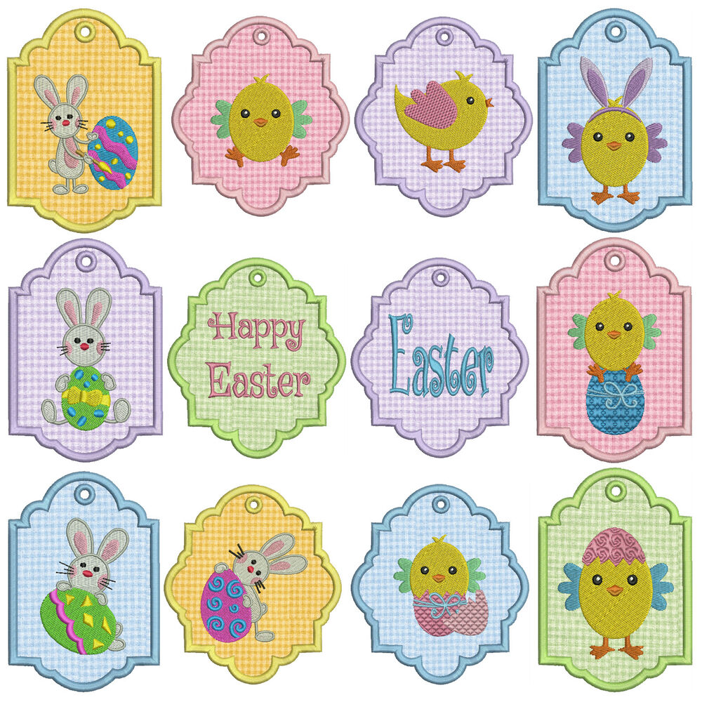 In-The-Hoop TAGS EASTER 1 * Machine Applique Embroidery ...