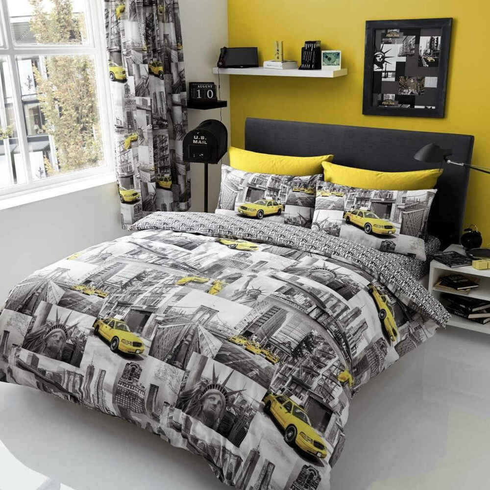 New york patchi duvet cover quilt cover bedding set with for Housse de couette new york