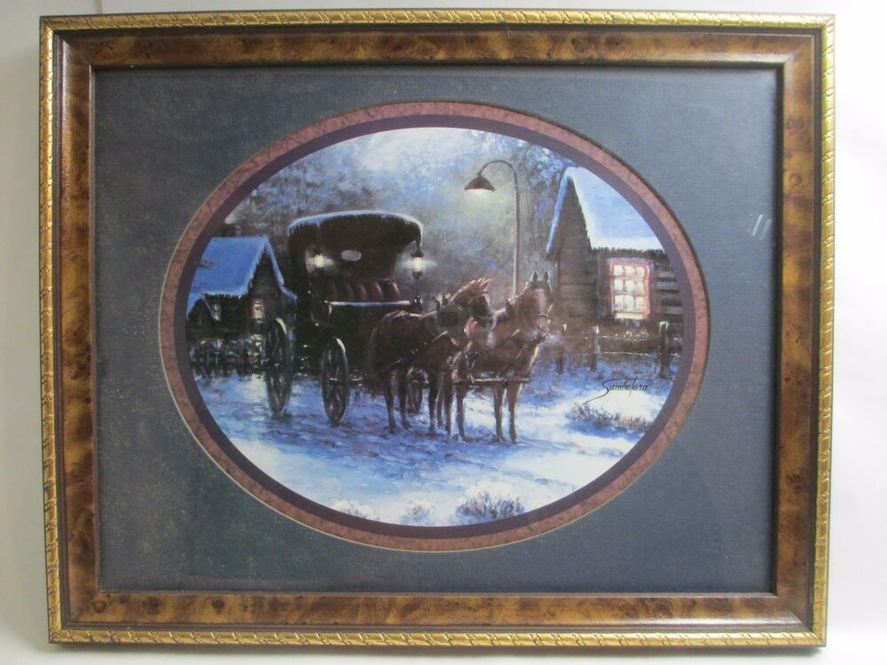 Sambataro Framed Picture Print Horses Carriage Winter