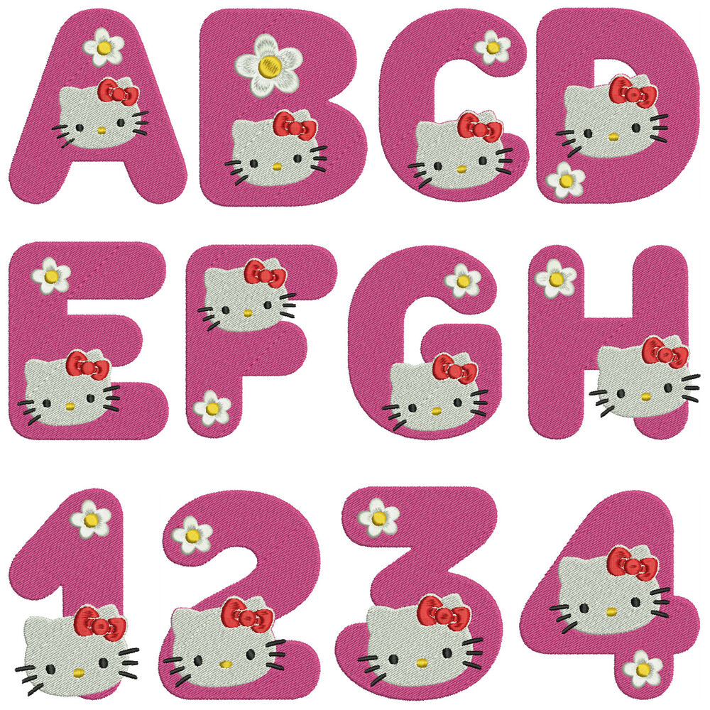 Kitty alphabet numbers machine embroidery patterns