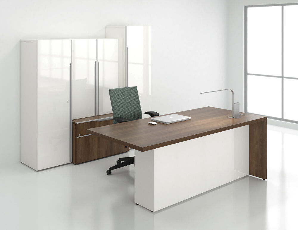 Modern Office Desk ~ Nex modern executive office desk with storage bookcase