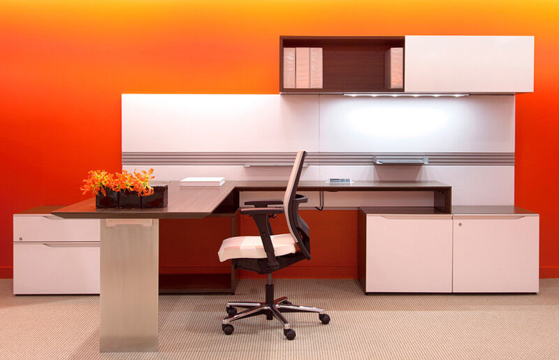 Nex Modern L Shape Office Desk With Storage And Sliding