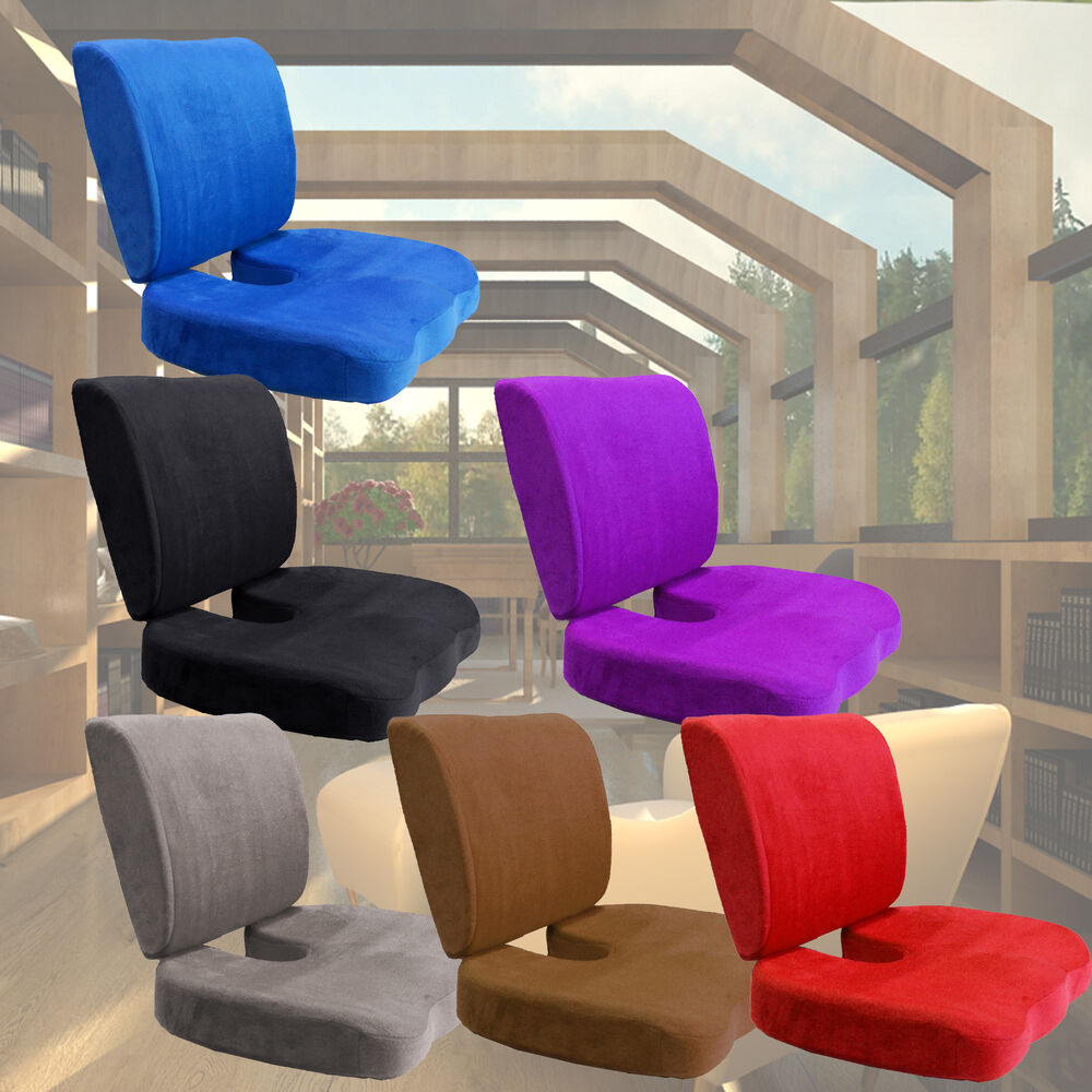 2pc Car Office Home Memory Foam Seat Chair Waist Lumbar Back Support Cushion