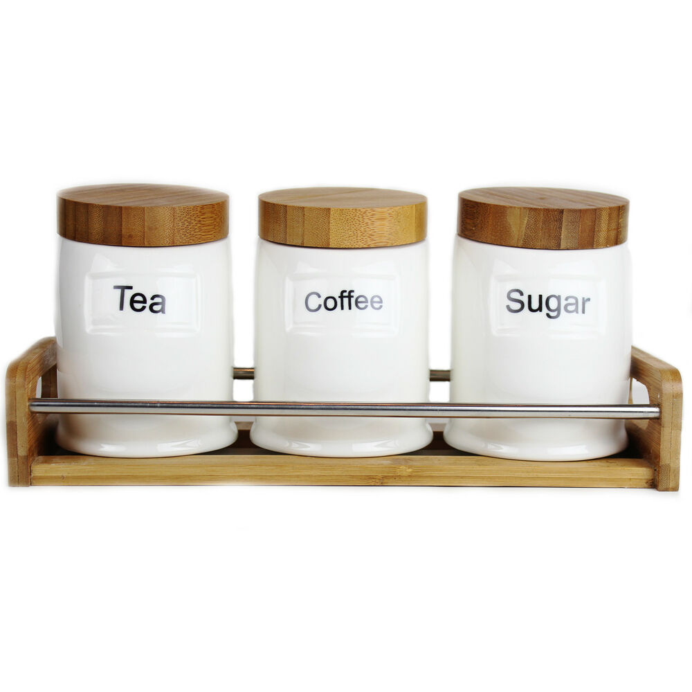 Kanata tea coffee sugar canister set ceramic jars bamboo lids with tray ebay - Coffee tea and sugar canisters ...
