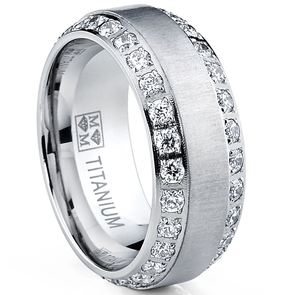 Mens Or Womens Eternity Titanium Lcs Diamond Wedding Band